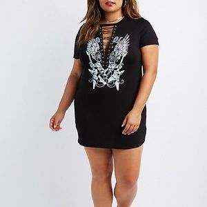 Plus Size Black Graphic Lace-Up T-Shirt Dress